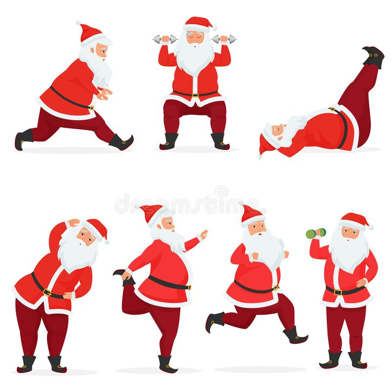 Vector funny and cute Santa Claus set does gym exercises with dumbbells and barbell isolated. Sport fitness santa. Vector funny and cute Santa Claus set does vector illustration