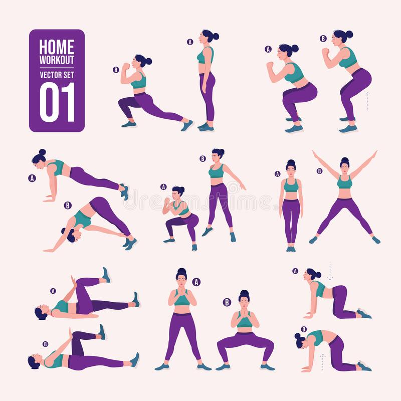Home workout set. Set of sport exercises. Exercises with free weight.Illustration of an active lifestyle. Woman doing fitness and. Set of sport exercises vector illustration