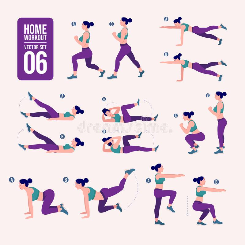 Home workout set. Set of sport exercises. Exercises with free weight.Illustration of an active lifestyle. Woman doing fitness and. Yoga exercises royalty free illustration
