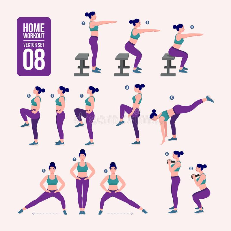 Home workout set. Set of sport exercises. Exercises with free weight.Illustration of an active lifestyle. Woman doing fitness and. Set of sport exercises royalty free illustration