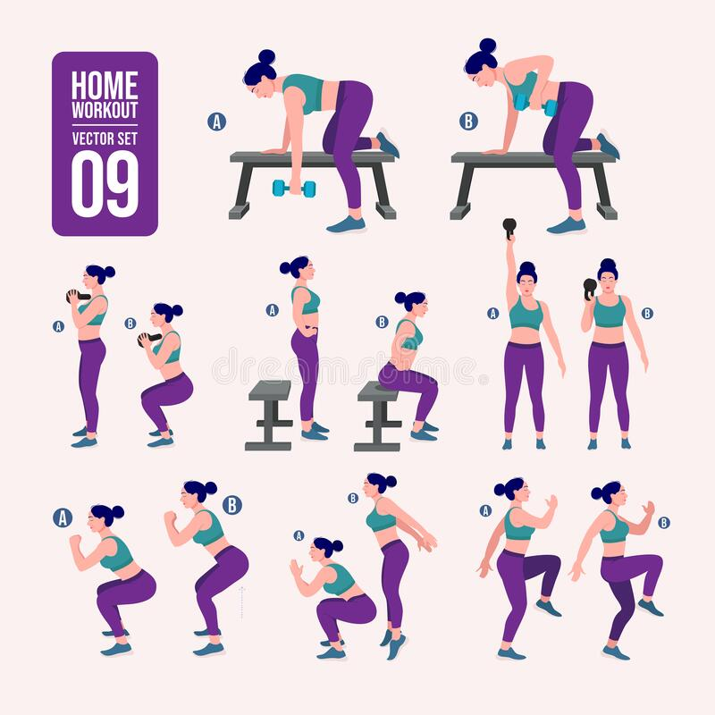 Home workout set. Set of sport exercises. Exercises with free weight.Illustration of an active lifestyle. Woman doing fitness and. Set of sport exercises stock illustration