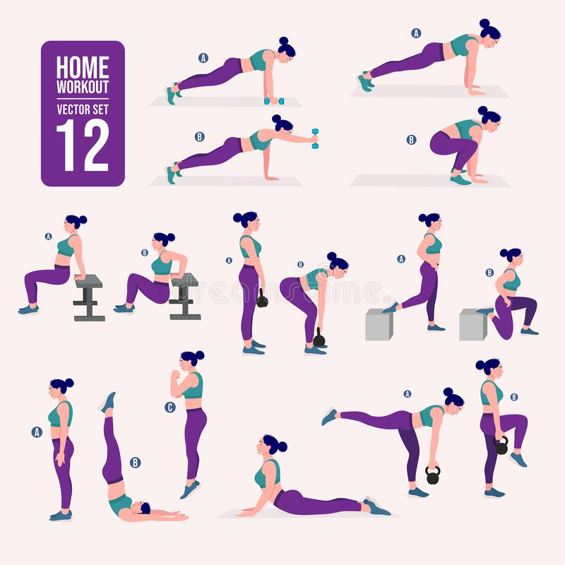 Home workout set. Set of sport exercises. Exercises with free weight.Illustration of an active lifestyle. Woman doing fitness and. Woman home workout set. Set of stock illustration