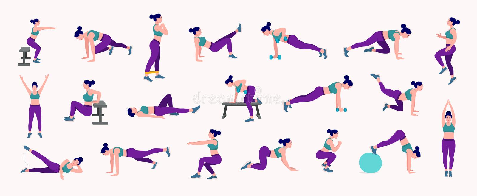 Workout girl set. Woman doing fitness and yoga exercises. Lunges and squats, plank and abc. Full body workout stock illustration