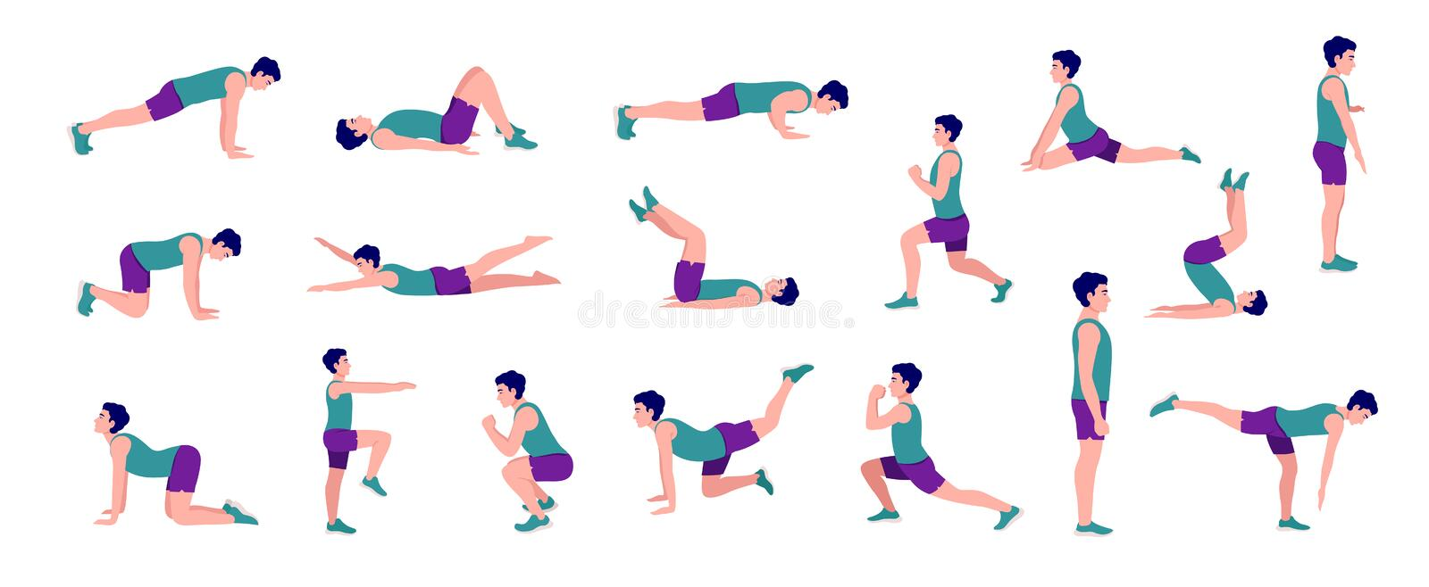 Workout Men set. Men doing fitness and yoga exercises. Lunges and squats, plank,Push Up,Mountain Climber, V-up,Bird Dog, Crunches and abc. Full body workout stock illustration