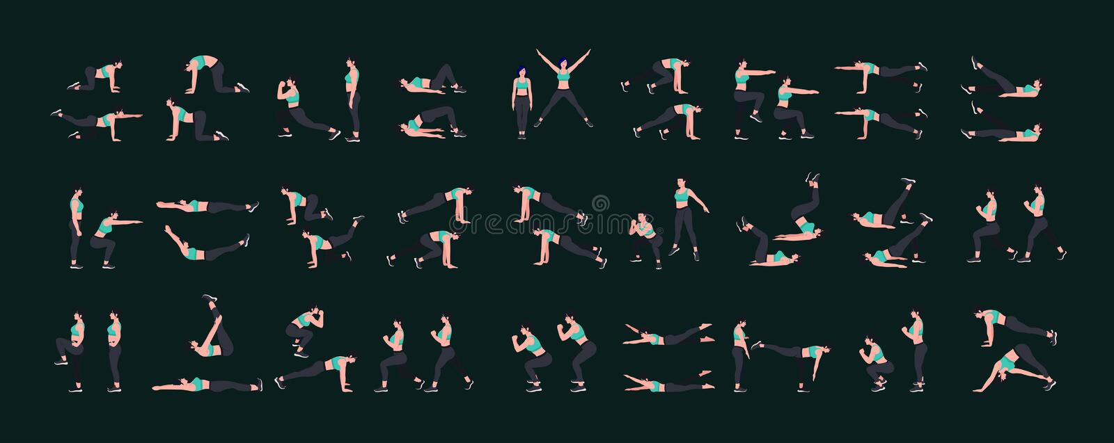 Women Workout Set. Women doing fitness and yoga exercises. Lunges, Pushups, Squats, Dumbbell rows, Burpees, Side planks, Situps. Glute bridge, Leg Raise vector illustration