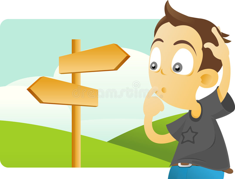 Which direction should be taken? vector illustration