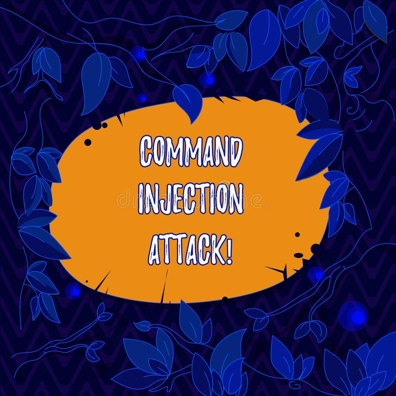 Word writing text Comanalysisd Injection Attack. Business concept for execution of arbitrary comanalysisds on the host. OS Tree Branches Scattered with Leaves stock illustration