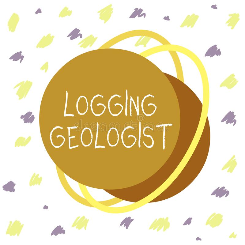 Word writing text Logging Geologist. Business concept for Layout and execution of definition diamond drill programs Asymmetrical. Word writing text Logging royalty free illustration