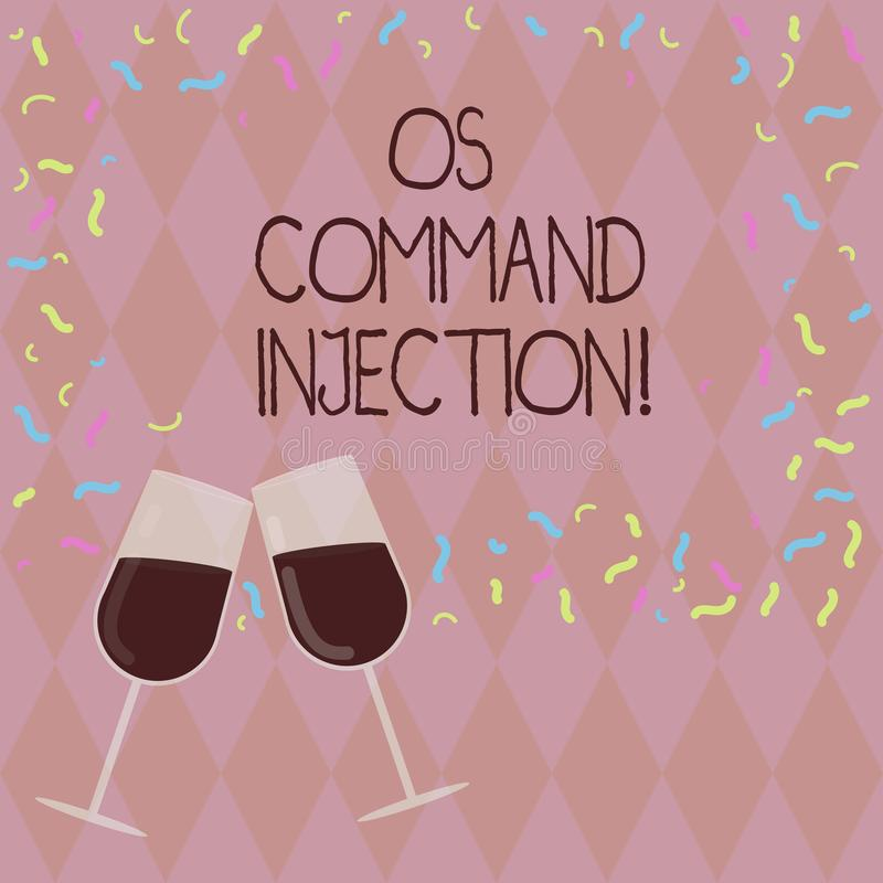 Writing note showing Os Comanalysisd Injection. Business photo showcasing Attack technique used for illegal execution of. Comanalysisds Filled Wine Glass for stock illustration