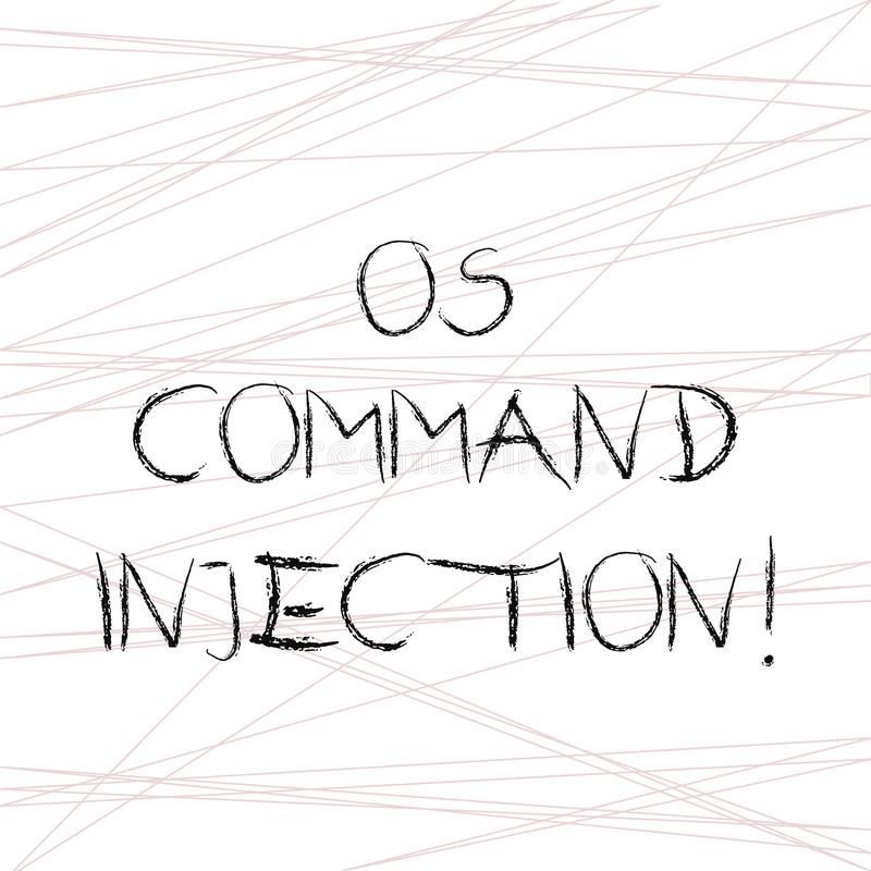 Writing note showing Os Comanalysisd Injection. Business photo showcasing Attack technique used for illegal execution of. Comanalysisds Straight Line Scattered vector illustration