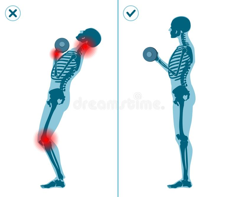 Wrong and correct standing barbell press start position. Right execution technique of sport gymnastics. Wrong and correct standing barbell press start position vector illustration