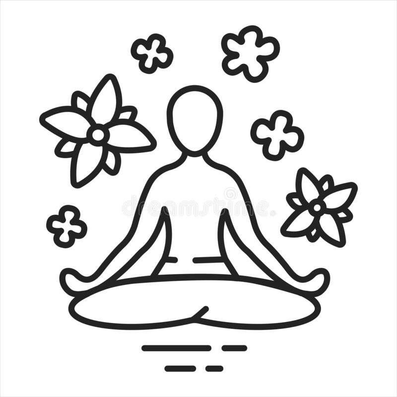 Yoga pose black line icon. Asana. Body posture, originally and still a general term for a sitting meditation pose. Pictogram for royalty free illustration